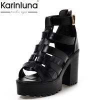 Large Size 34-43 Fashion Rome Style Shoes Women Solid Peep Toe Gladiator Shoes Buckle Platform Women Sandals Black white