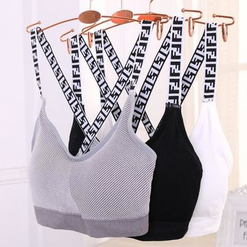 FENDI Fashion Women F Letter Sexy Breathable Sport Sleeveless Vest Bra