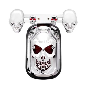 Motorcycle Creative Skull Rear Tail Brake Stop Running Number Plate Light Lamp Low Consumption For Harley Chopper