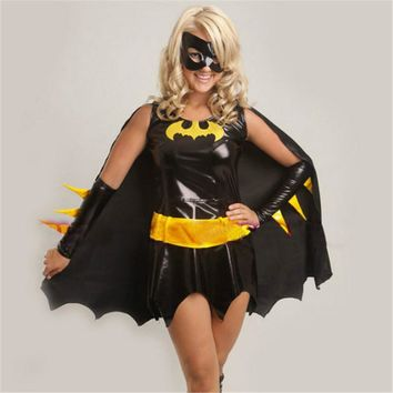2017 high-quality black batman costume adult batgirl women halloween costumes for women sexy superhero cosplay mask cape custome