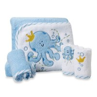 SpaSilk® Baby Octopus 5-Piece Terry Hooded Towel and Washcloth Set in Blue