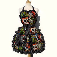 Apron - Hollywood Monsters - A908 [HMTA] - $35.00 : Gorey Details, - Edward Gorey, Tim Burton, Alice, Poe, gothic, horror, halloween, vampire, bats, skull, zombie, dragon, fairy, victorian