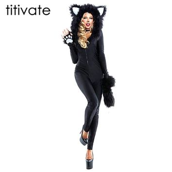 TITIVATE Sexy Black Bear Halloween Costume Women Dress Cosplay Uniform Club Wear Party 2017 New Animal Women's Cat Girl Costume Macchar Cosplay Catalogue