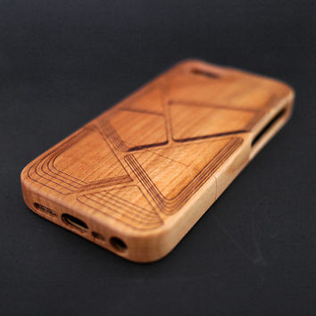 Geometric Cherry Wood iPhone 5s Case - Real Wood iPhone 5 Case - Custom iPhone 5s Case Wood - Wooden iPhone 5 Case - Christmas Gift