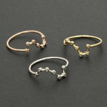 Big Dipper Ring / stars ring, great bear constellation, night sky, birthday gift / R162