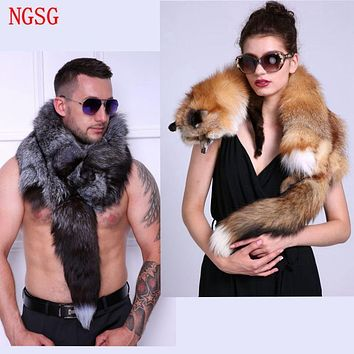 Men's Real Fur Scarf  Fox Scarf Woman To Keep Warm Shawl Soft Headscarf  Super big Gray Silver Fox Scarf  Natural Fur Accessorie
