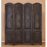 Deco 79 81696 Wood Leather 4-Panel Screen Brings Completeness to Decor