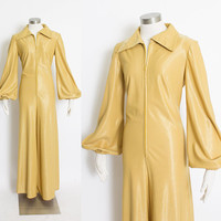 Vintage 1960s Jumpsuit - Gold Wide Leg Long Sleeve Zip Up Mod - Large