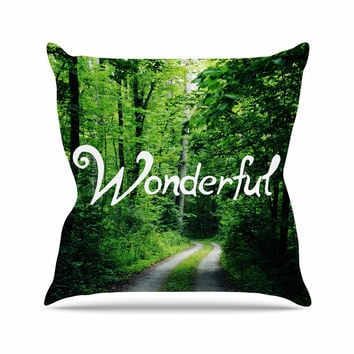"Chlesea Victoria ""Wonderful"" Green Nature Throw Pillow"