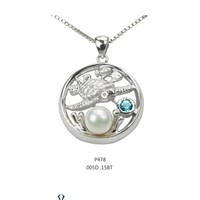 Artistica Diamond and Ocean Blue Topaz Turtle Pendant