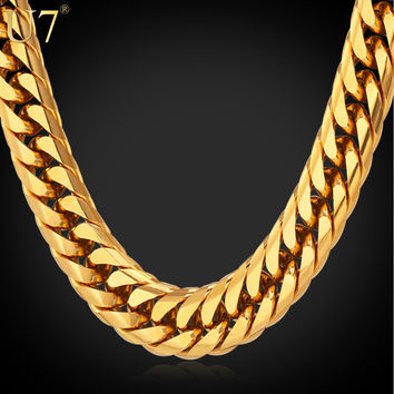 Big Chunky HipHop Gold Tone Chain For Men Jewelry 18K Gold Plated 71CM 13MM Thick Stainless Steel