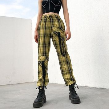 Casual Summer Plaid High Waist Cargo Pants Women Pockets Streetwear String Lace Up Trousers Female Capris pantalones mujer