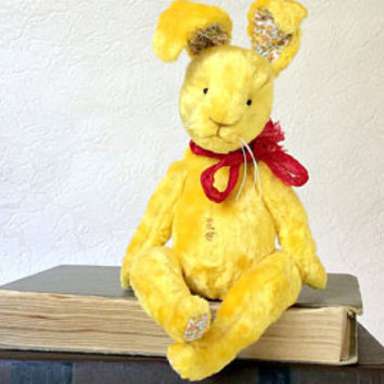 Yellow bunny Teddy bunny stuffed animals artist bear artist bunny plush toys plush bunny interior toys unique toys teddy collectible teddy