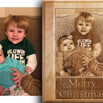 Photo Engraving on Alder Wood Plaque
