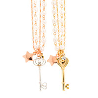 Best Friends Gold and Rose Gold Matching Pendant Necklaces