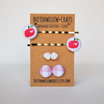 Fabric Button Earrings  - Little Apples - Hearts - Pink Gingham - White Resin Roses - Cute Birthday Gift - Fun Trendy Girl Accessories