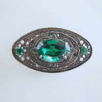 Emerald Green Art Deco Czech Brooch 3 Tiers 1940s Vintage Jewelry