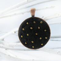Wearable Needle Felted Pendant and Chain for adults and teens - Copper Finish with Black Felt and Shiny Gold Glass Beads