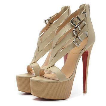 Christian Louboutin Fashion Edgy Red Sole Heels Shoes-75