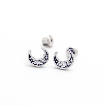 Moon sterling silver earrings