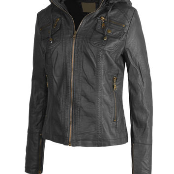 LE3NO Womens Faux Leather Zip Up Biker Jacket with Hood
