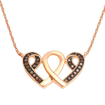 10K Rose Gold Heart Pendant Necklace Set 18 inch Brown Diamonds Two Hearts (1/10 cttw, I/J Color)