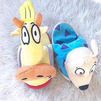 Vintage 90's ROCKO'S Modern Life NICKELODEON Rocko Wallaby Heffer Cartoon Character PLUSH Slip On Slippers Sz L (9-10)