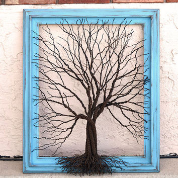 Amy Giacomelli Painting Original Large Tree Abstract Sculpture ... Wire tree on aqua vintage salvaged frame