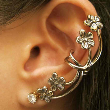 Bronze Forget Me Not Flower Ear Cuff by martymagic on Etsy