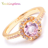 Yunkingdom lovely pink zirconia engagement rings for women gold color fashion jewelry