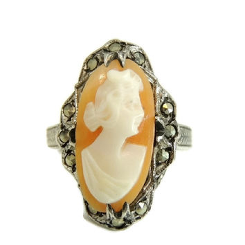 Antique Art Nouveau Cameo Ring Sterling Silver with Marcasite Accents