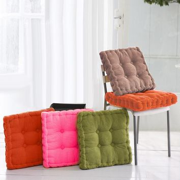 Thick Corduroy Elastic Seat Cushions Winter Office Student Chair Square Back Seat Cushions Sofa Pillow Chair Cushion Solid Color