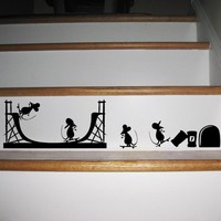 3d Funny Painting mouse mouse hole wall stickers decals Living room Bedroom wall art wallpaper mural Home decoration