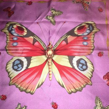 DCCKWA2 $450 VERSACE MEDUSA BUTTERFLY GARDEN SCARF SILK WOMAN NEW ITALY BEST GIFT SALE