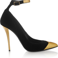 Balmain - Liliea metallic leather-trimmed velvet pumps