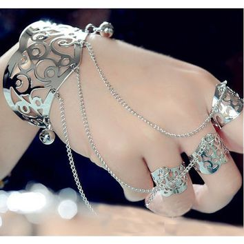 Women Silver Plating Cuff Slave Bracelet Statement Ring Jewelry Sets