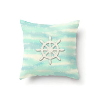 Nautical Pillow Cover, Ships Wheel, Captains Wheel, nautical decor, throw pillow cover, beach decor, pastel decor, seascape art, sand pillow