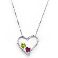Kay - Lab-Created Ruby Couple's Heart Necklace Sterling Silver
