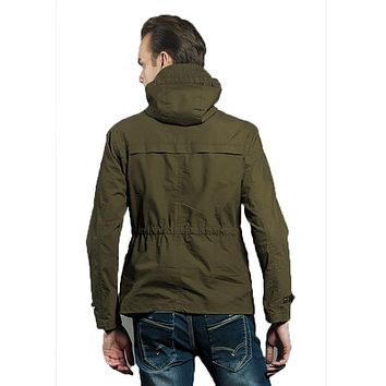 Trench Coat Army Fashion Casual Jacket Mens Hooded Trench Coat