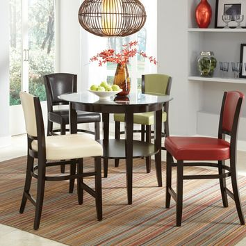 5 pc Rodeo II collection espresso finish wood glass top counter height dining table set with leather like vinyl upholstered chairs