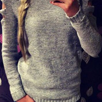Casual Cut Out Long Sleeve Knitted Sweater