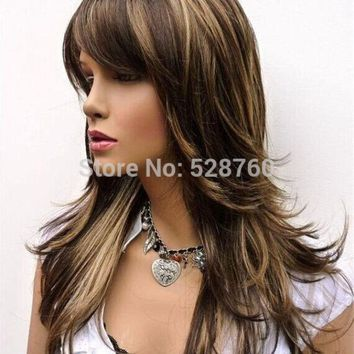 VONE2B5 Feathery Long Layered Wig Brown with Blonde Highlights Free shipping