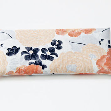 Flaxseed and Lavender Eye Pillow, Peach and Navy Floral, Organic Relaxation Gift, Cold Pack