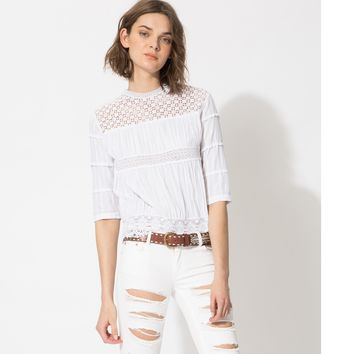 maje LUCE Lace top at Maje US