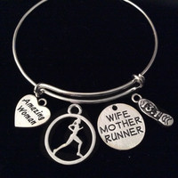 13.1 Amazing Woman Wife Mother Runner Expandable Silver Charm Bracelet Adjustable Wire Bangle Trendy
