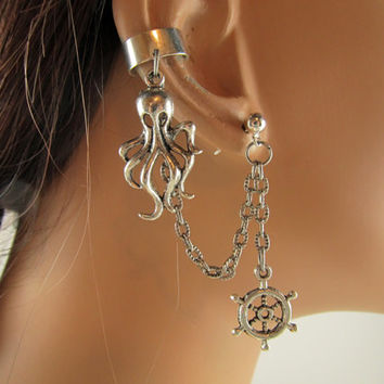 Ear Cuff With Chain And Silver Octopus and Ship Wheels