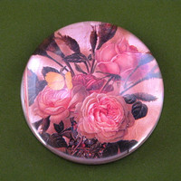 Rose Bouquet Floral Round Crystal Dome Paperweight June Birthday