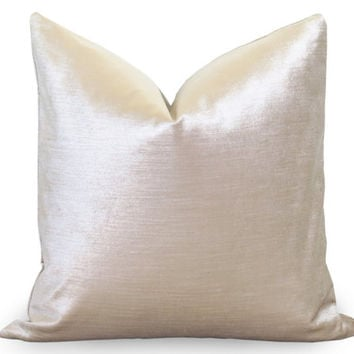 Glisten Velvet Pillow Cover - Champagne - Light Gold Velvet Silver Pillow - Velvet Pillow - Decorative Pillow - Designer Pillow