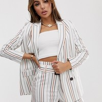 ASOS DESIGN cream stripe suit blazer | ASOS