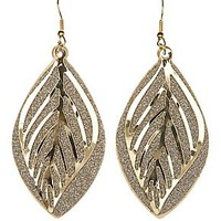GLITTERY LEAF DROP EARRINGS